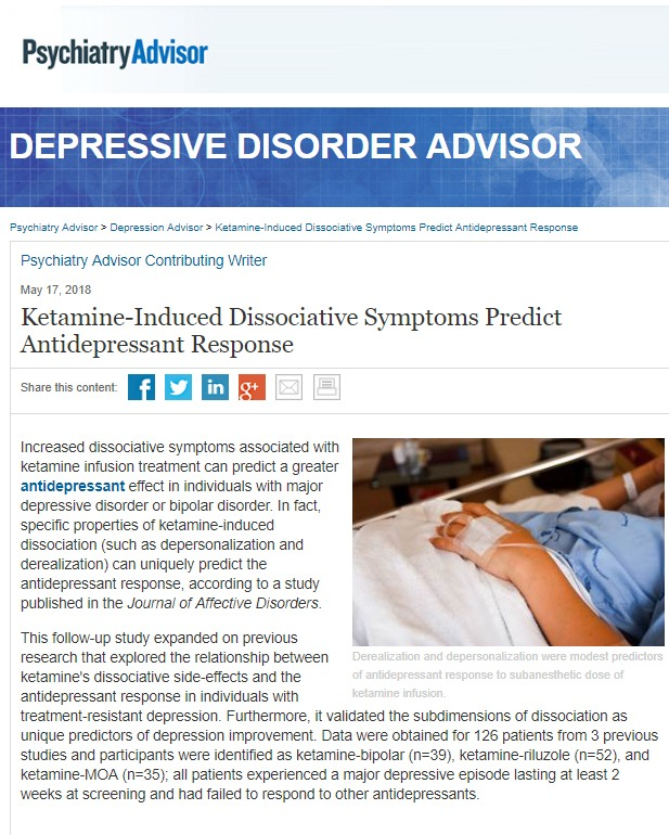 IV Ketamine Infusion Therapy Can Create an Antidepressant Response